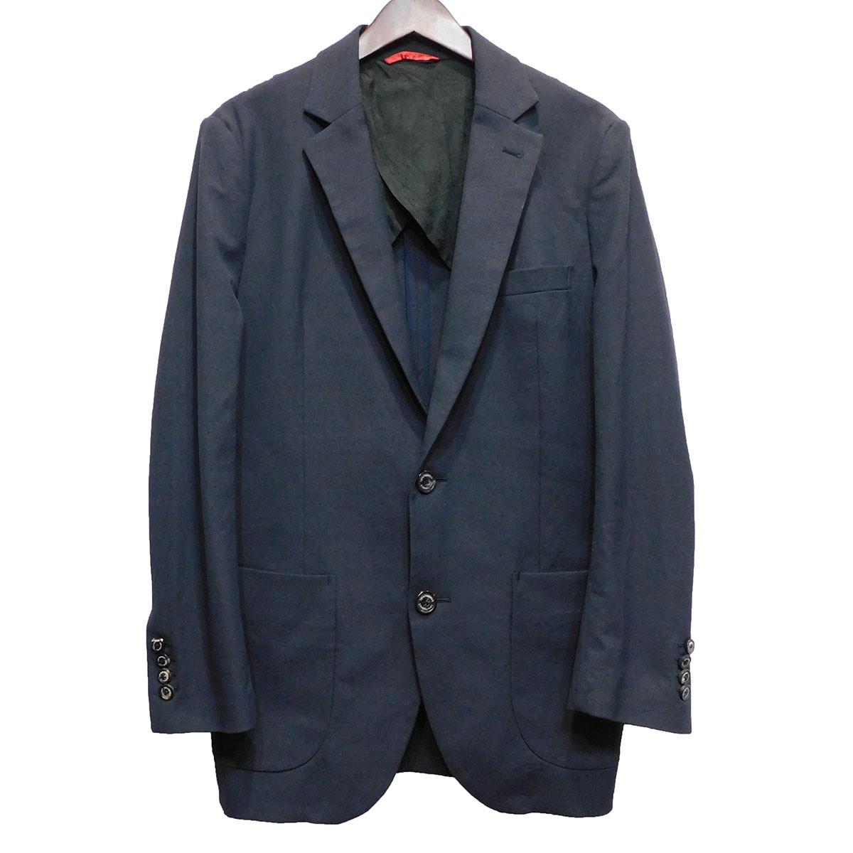 【中古】1piu1uguale3 「TRAVEL JACKET」 リネン混ジャケット ネイビー サイズ:5 【170420】(ウノピゥウノウグァーレトレ)