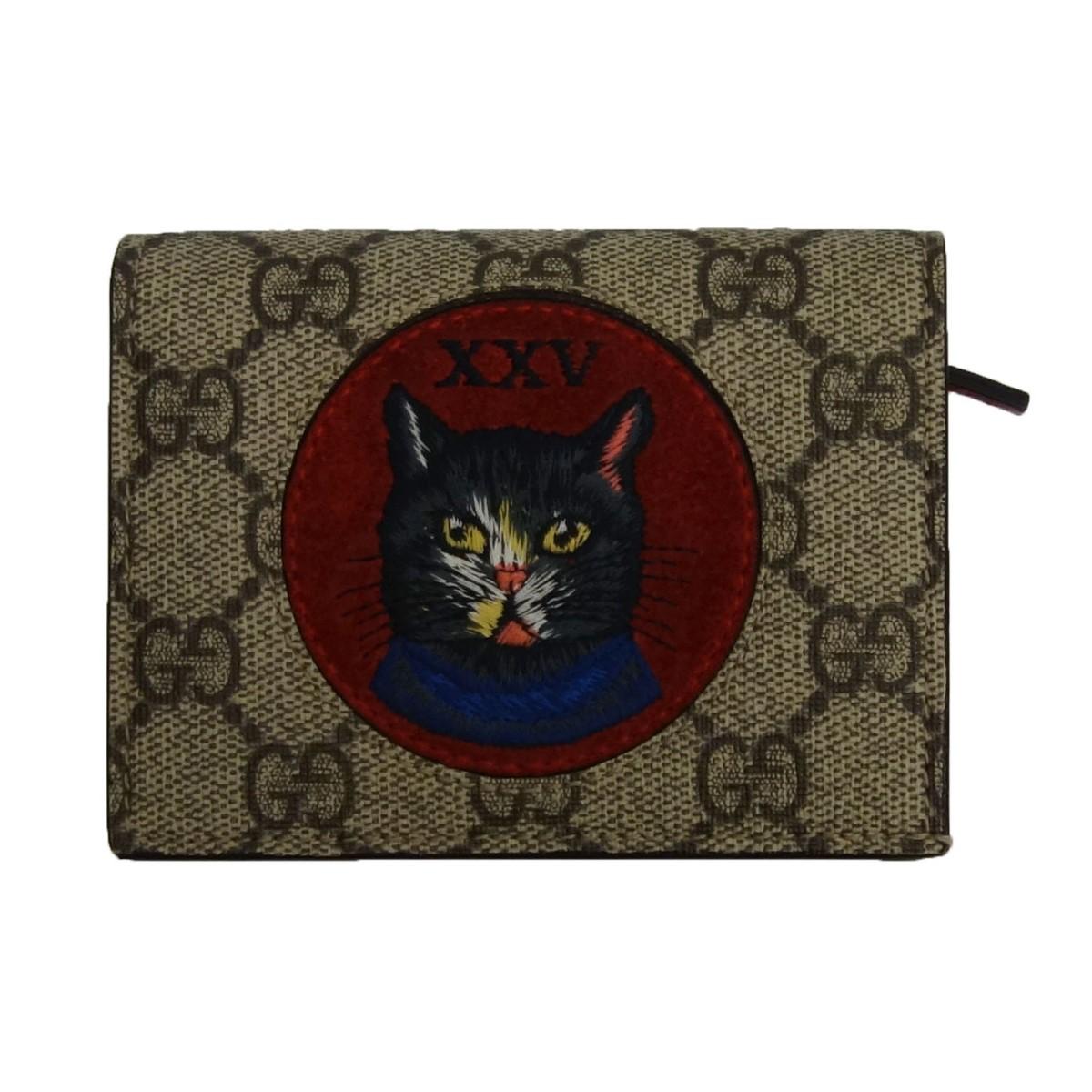 【中古】GUCCI ミスティックキャットコインケース 財布 ブラウン×レッド 【170420】(グッチ)