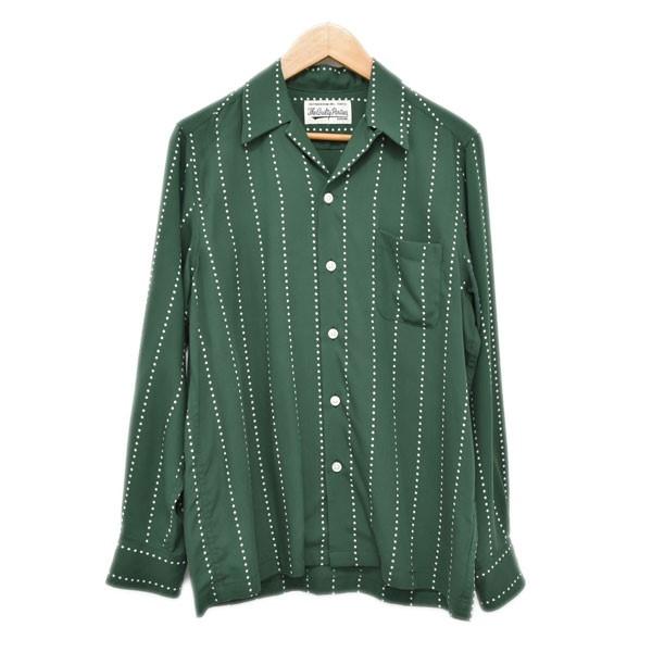 【中古】WACKO MARIA ドットプリントオープンカラーシャツ グリーン・ホワイト サイズ:XS 【180420】(ワコマリア)