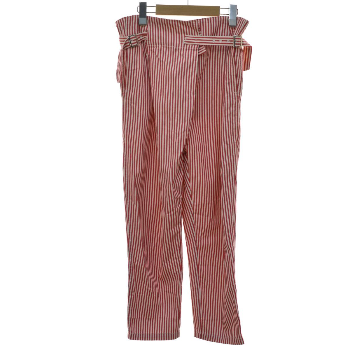 【中古】TOGA PULLA 19SS COTTON WRAP PANTS ストライプパンツ レッド サイズ:34 【180420】(トーガ プルラ)