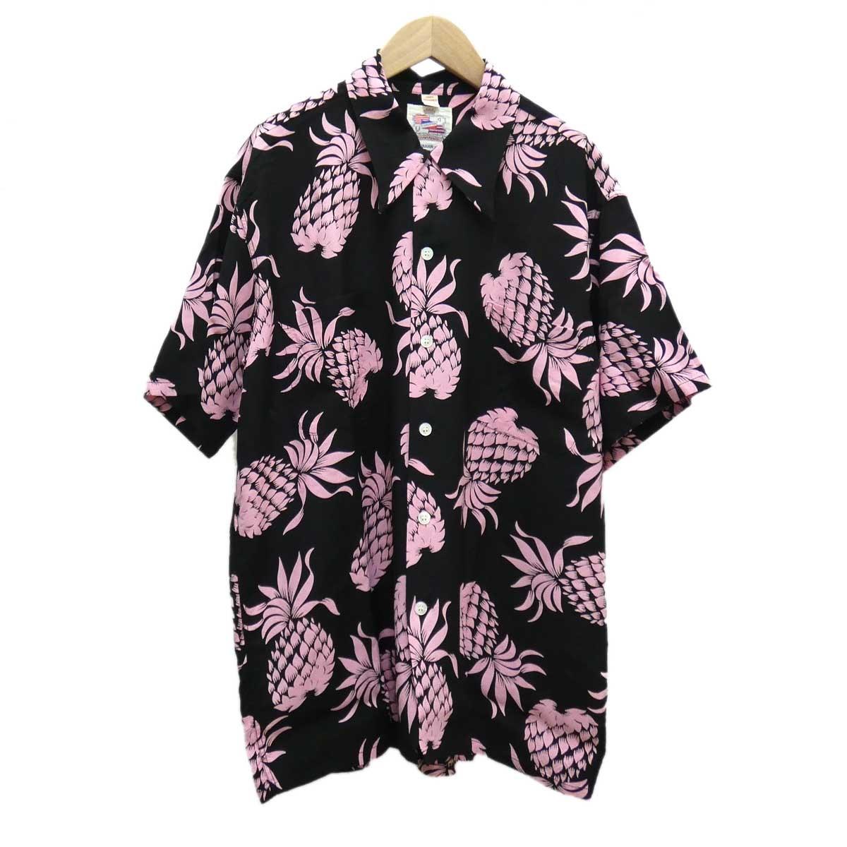 【中古】Duke Kahanamoku パイナップルプリントアロハシャツ ブラック×ピンク サイズ:L 【170420】(デューク・カハナモク)