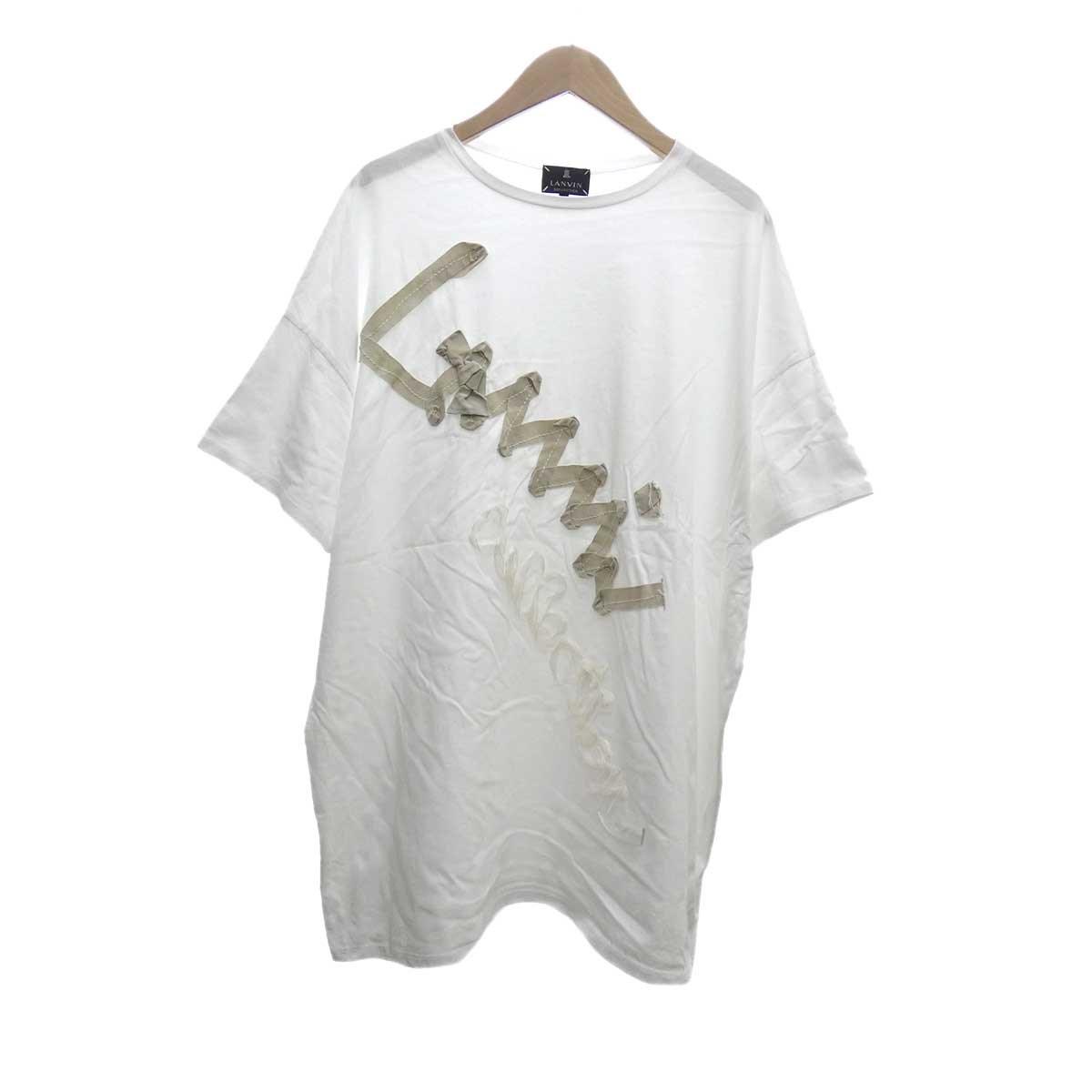 【中古】LANVIN リボンデザイン半袖Tシャツ ホワイト サイズ:38 【170420】(ランバン)