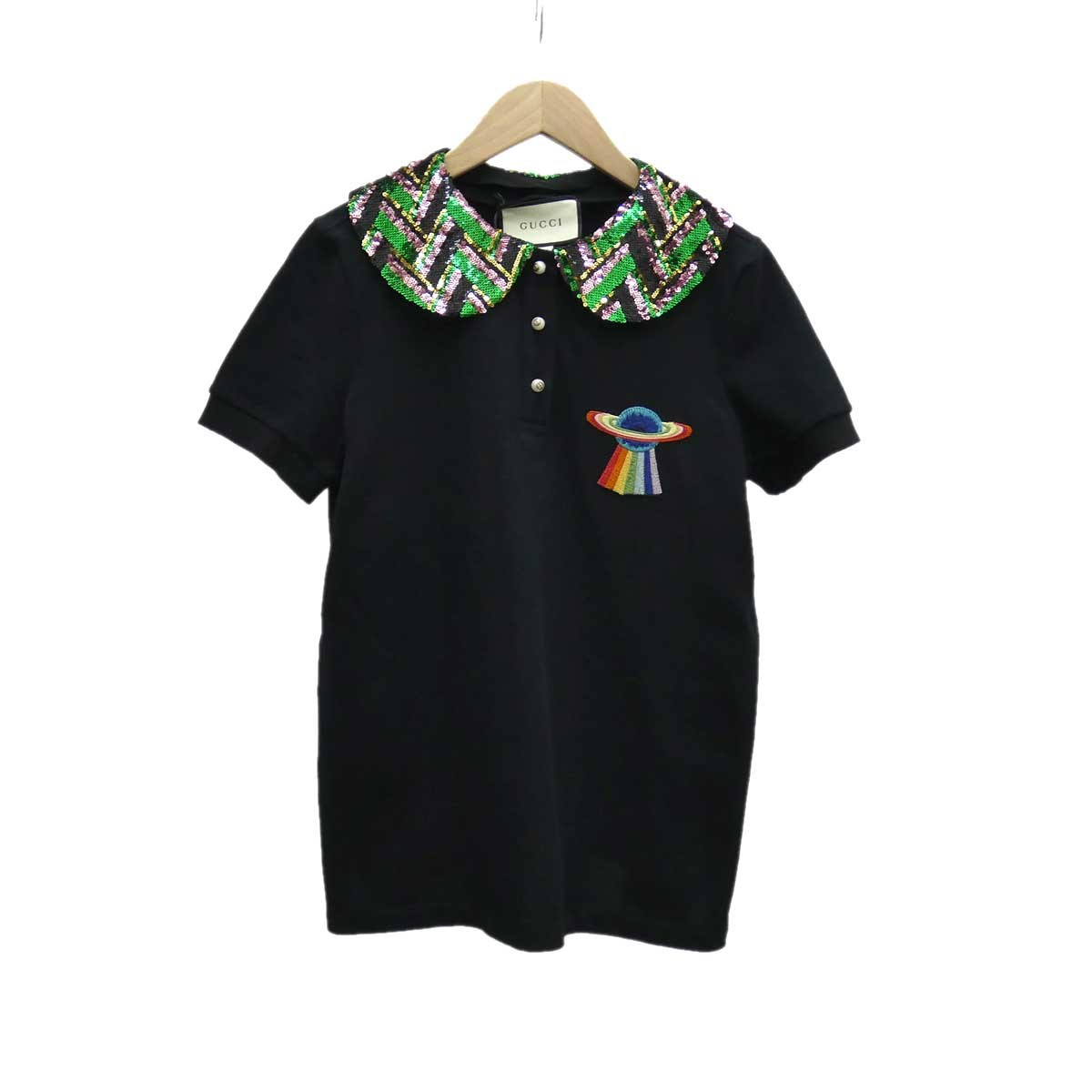 【中古】GUCCI スパンコールデザインポロシャツ ブラック サイズ:S 【170420】(グッチ)