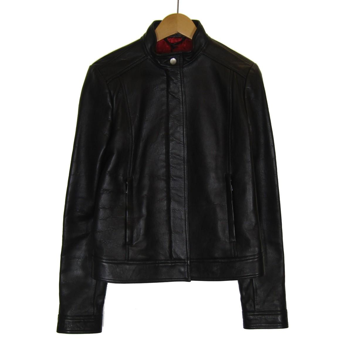 【中古】GUCCI シングルライダースジャケット ブラック サイズ:38 【170420】(グッチ)