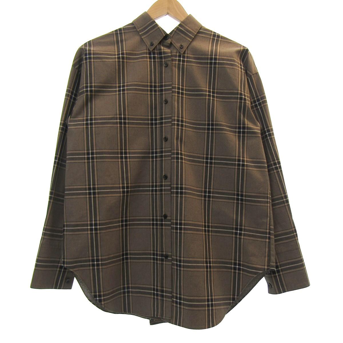 【中古】LE CIEL BLEU Check Back Ruffle Shirt バックデザインシャツ ブラウン サイズ:36 【170420】(ルシェルブルー)