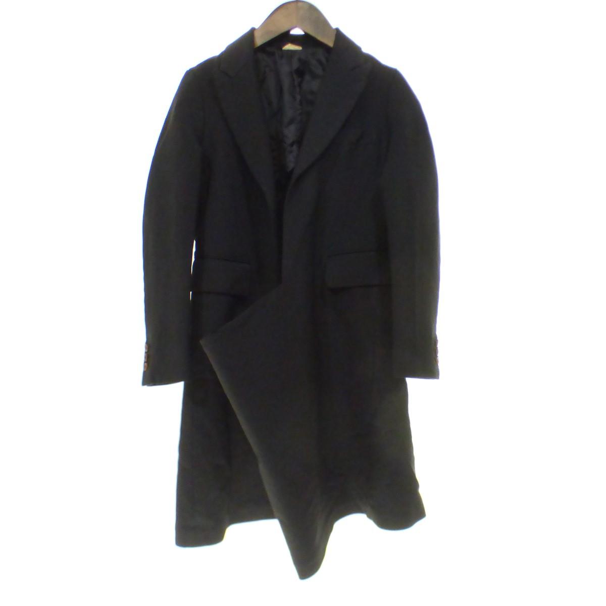 【中古】COMME des GARCONS 【2015A/W】縮絨加工変形デザインプルオーバーデザインコート ブラック サイズ:XS 【180420】(コムデギャルソン)