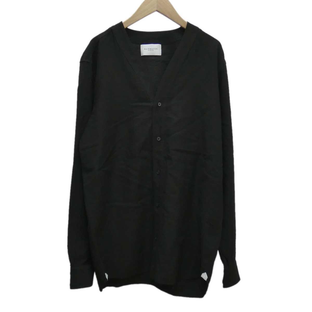 【中古】RAINMAKER レーヨンノーカラーシャツ RM182-010 ブラック サイズ:5 【190420】(レインメーカー)
