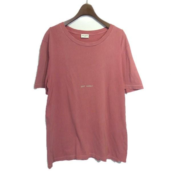 【中古】SAINT LAURENT PARIS 2018AW「531185」ダメージ加工ロゴプリントTシャツ ピンク サイズ:S 【190420】(サンローランパリ)