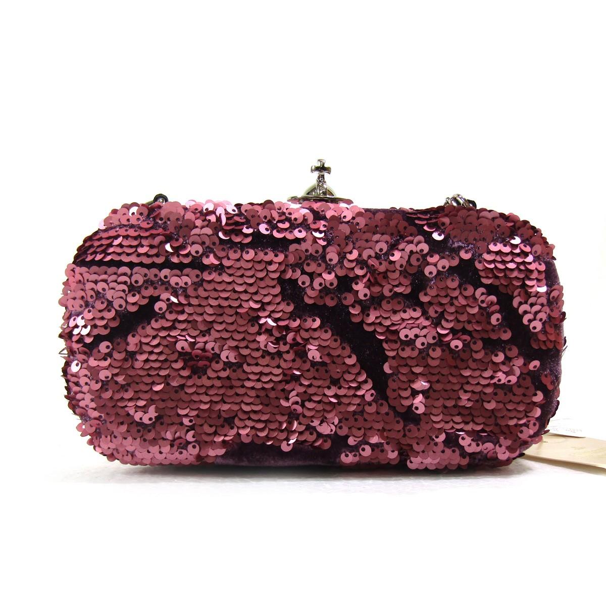 【中古】Vivienne Westwoodオーヴがま口チェーンバッグ スパンコール ピンク