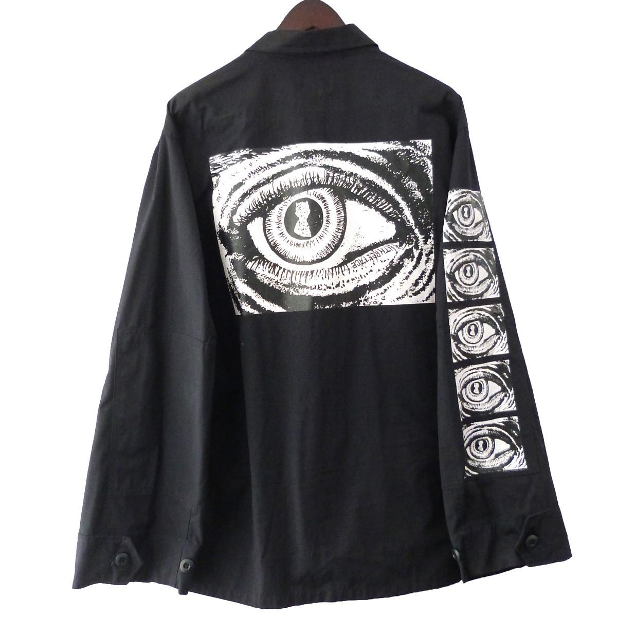 【中古】THREE FACE EYEプリントM-65フィールドジャケット ブラック サイズ:- 【200420】(スリーフェイス)