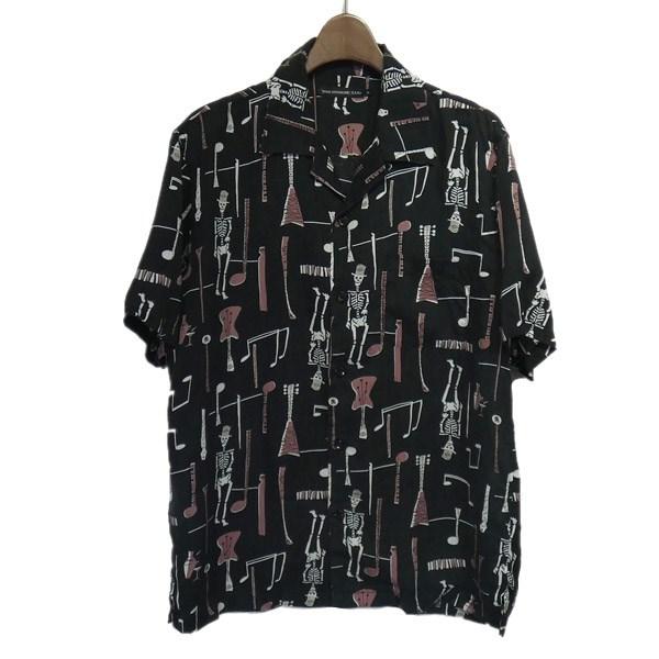 【中古】HYSTERIC GLAMOUR FUZZ柄オープンカラーシャツ ブラック サイズ:M 【200420】(ヒステリックグラマー)