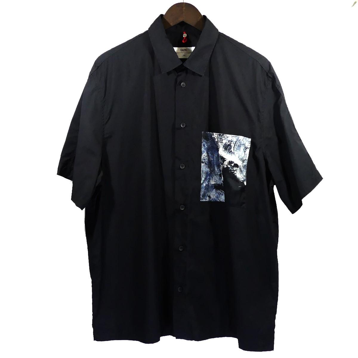 【中古】OAMC (OVER ALL MASTER CLOTH) 18SS デザインポケットハーフスリーブシャツ ブラック サイズ:L 【210420】(オーエーエムシー)