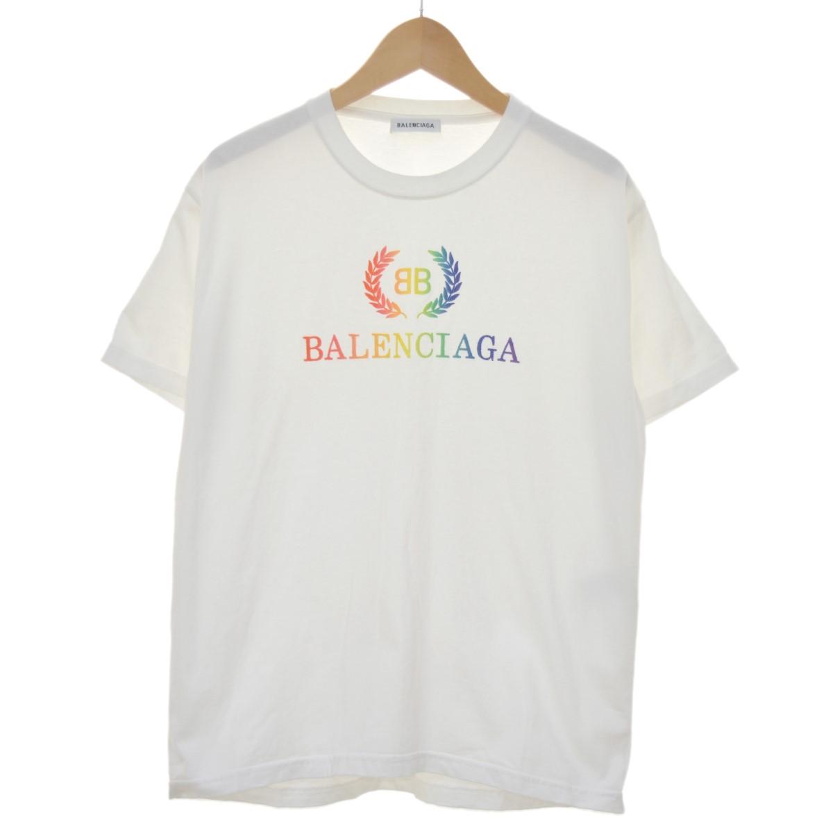 【中古】BALENCIAGA レインボーBBロゴTシャツ ホワイト サイズ:XL 【210420】(バレンシアガ)