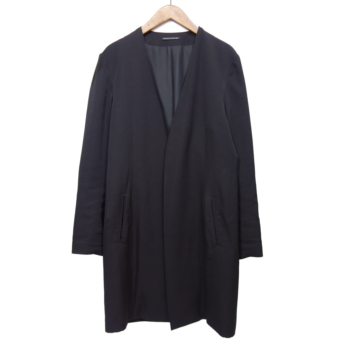 【中古】YOHJI YAMAMOTO pour homme 【2019A/W】 ウールギャバジン ノーカラー コート ブラック サイズ:2 【200420】(ヨウジヤマモトプールオム)