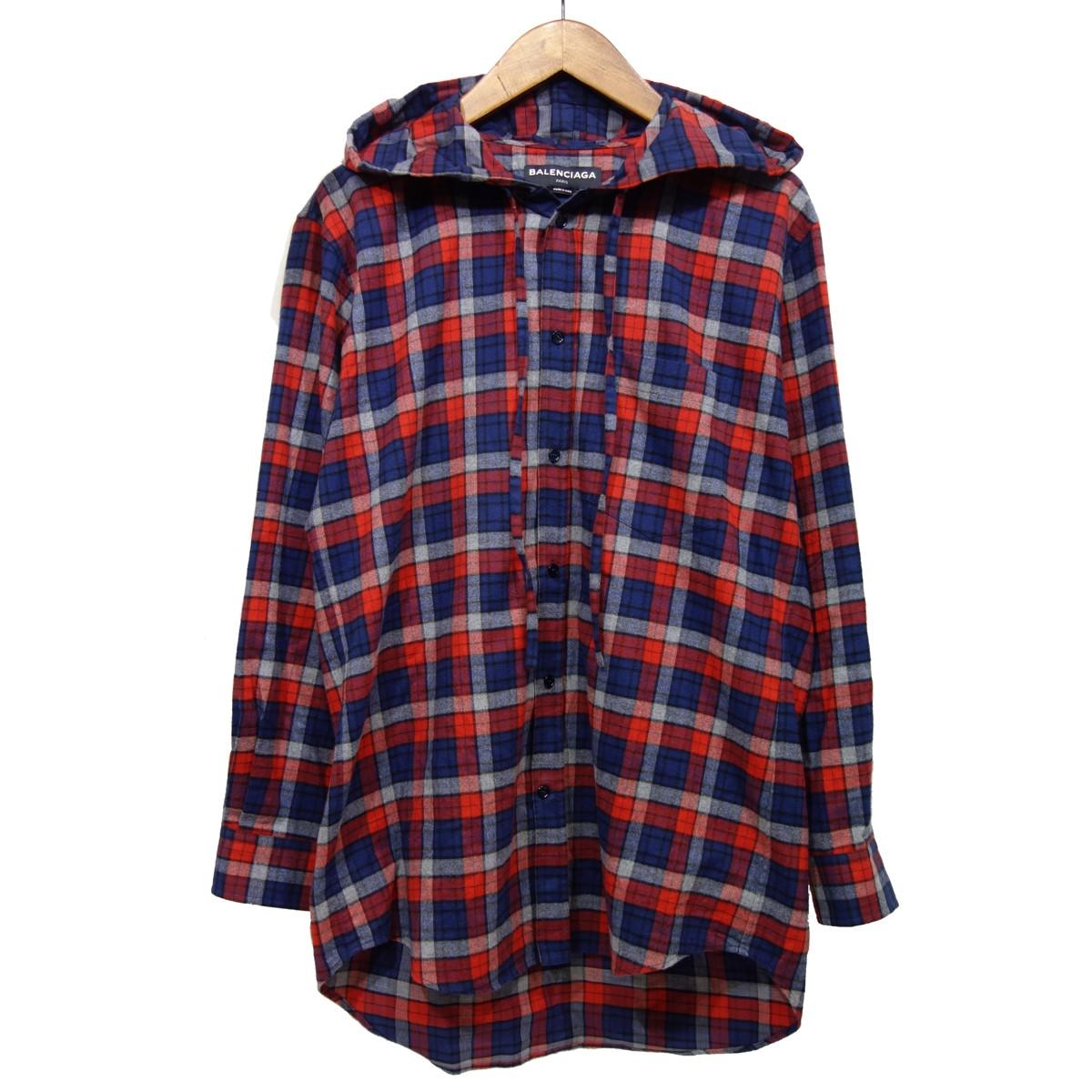 【中古】BALENCIAGA 【2017A/W】 フード付チェックシャツ 485990 レッド×ネイビー サイズ:37 【200420】(バレンシアガ)