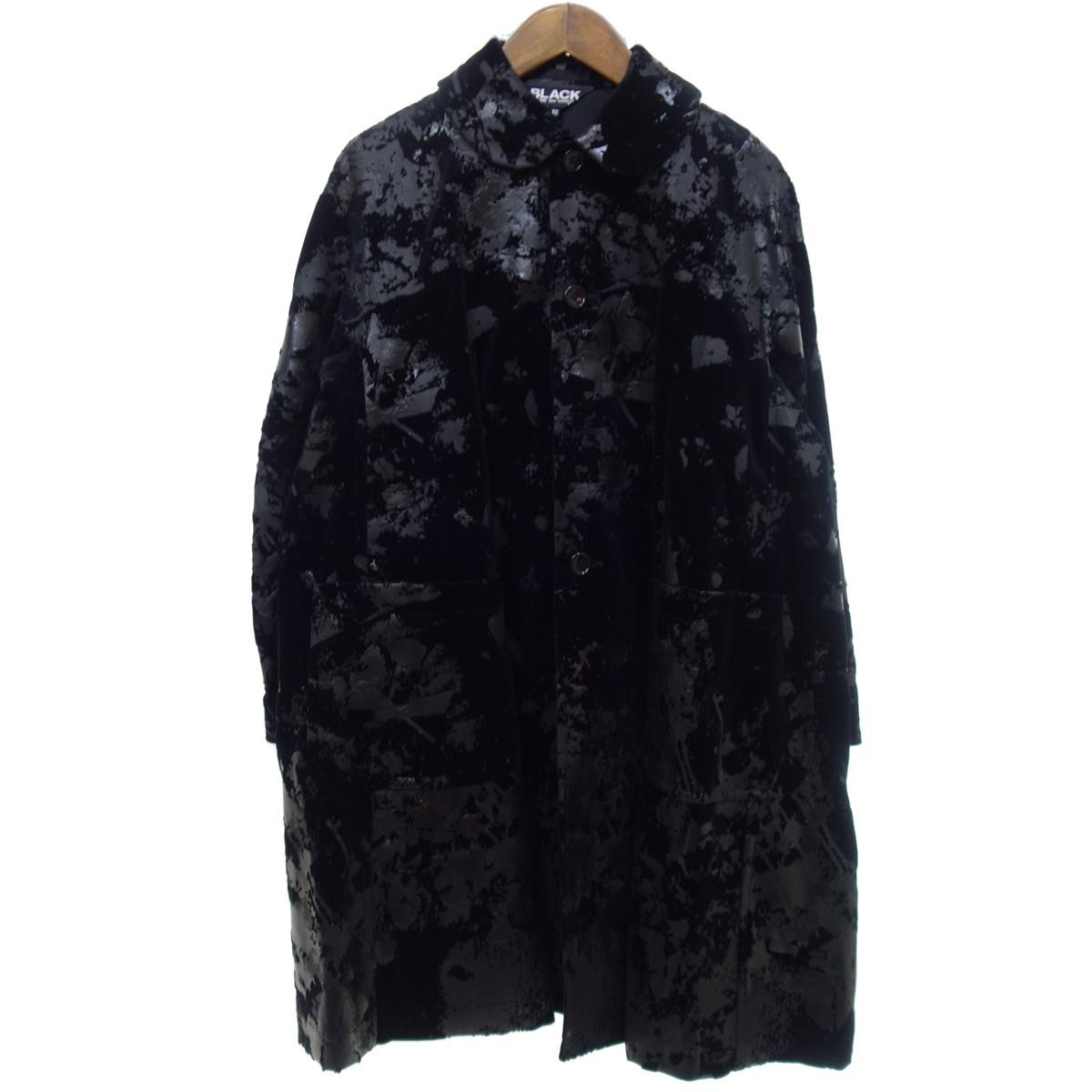 【中古】BLACK COMME des GARCONS 【2019S/S】 総柄 コート ブラック サイズ:XS 【200420】(ブラックコムデギャルソン)