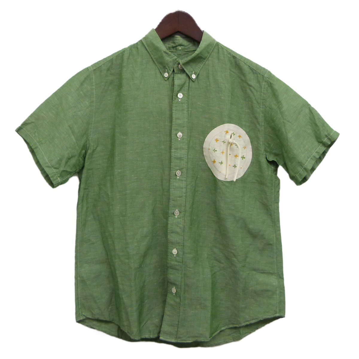【中古】VISVIM 13SS「JUNEAU WELD NOTO S/S」サークルポケット半袖シャツ グリーン サイズ:1 【200420】(ビズビム)
