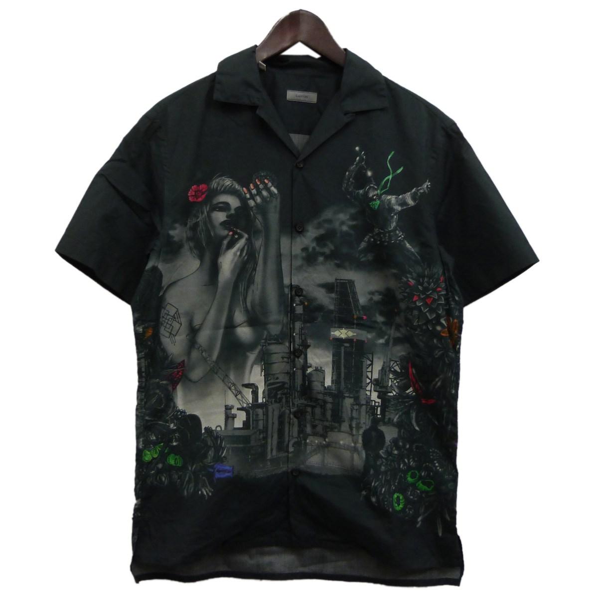 【中古】LANVIN オープンカラー半袖シャツ グレー サイズ:36/14 【200420】(ランバン)