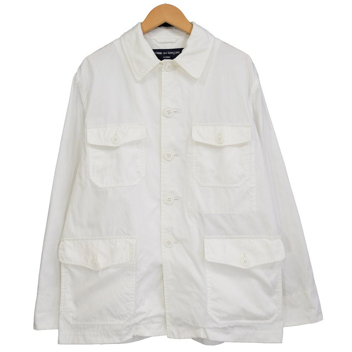 【中古】COMME des GARCONS HOMME Hight Density Cotton Gabardine JKT カバーオール 2018SS ホワイト サイズ:M 【200420】(コムデギャルソンオム)