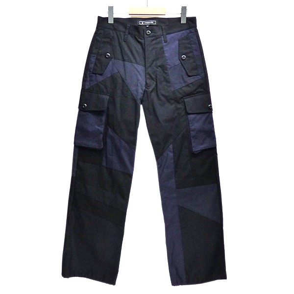 【中古】ANREALAGE 2020SS PANEL PATCHWORK WORK PANTS パッチワーク カーゴパンツ ネイビー サイズ:44 【200420】(アンリアレイジ)