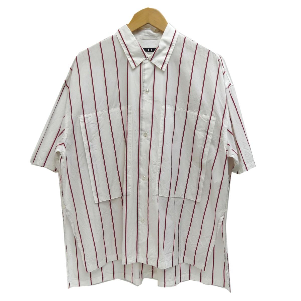 【中古】KIIT ストライプ半袖シャツ ホワイト×レッド サイズ:2 【210420】(キート)