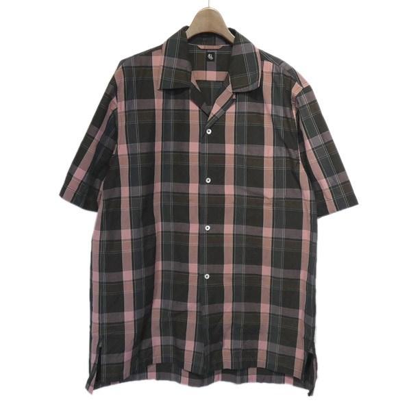 【中古】Kaptain Sunshine 「Open Collar S/S Shirt」オープンカラーチェックシャツ ブラウン×ピンク サイズ:38 【210420】(キャプテン サンシャイン)
