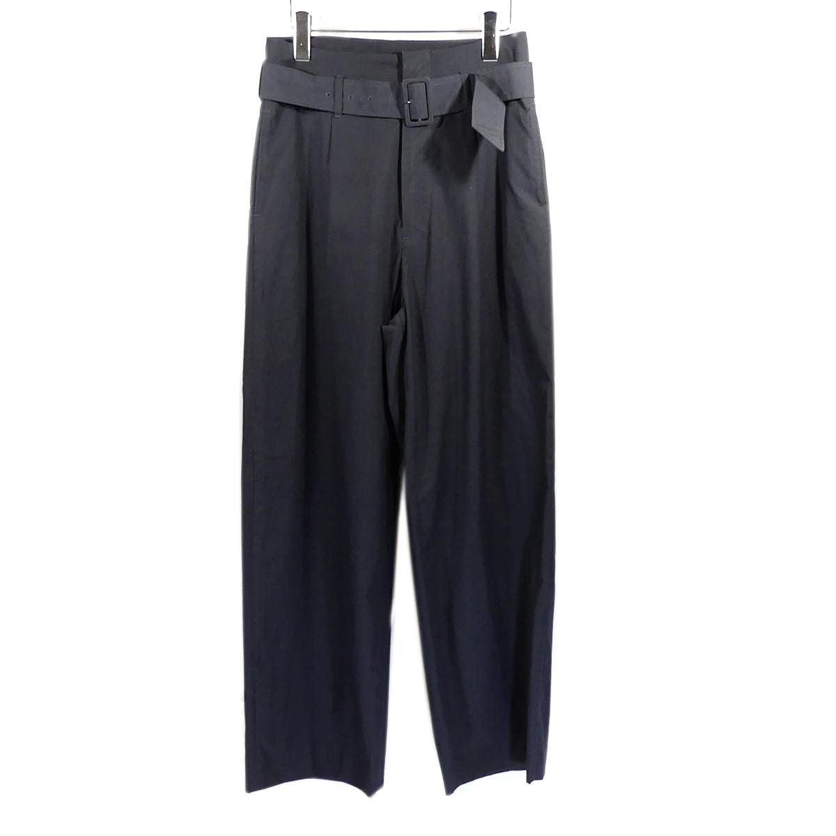 【中古】AURALEE WASHED FINX RIPSTOP BELTED WIDE PANTS ベルテッドワイドパンツ ブラック サイズ:0 【210420】(オーラリー)