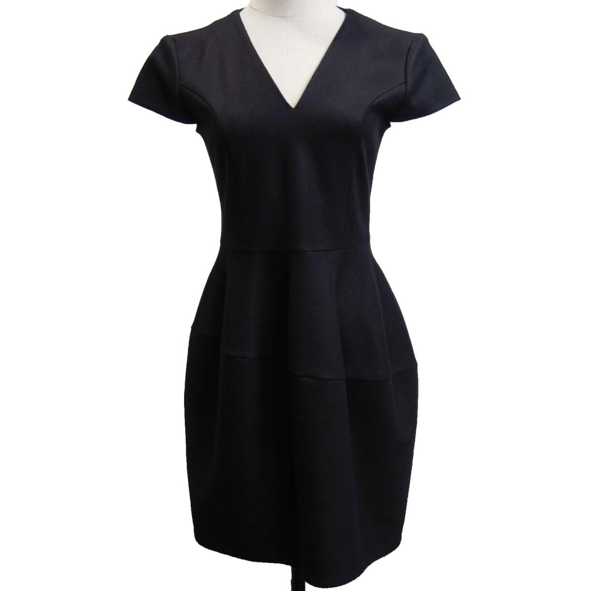 【中古】YOKO CHAN 「V-neck Balloon Dress」 Vネックバルーンドレスワンピース ブラック サイズ:36 【210420】(ヨーコチャン)