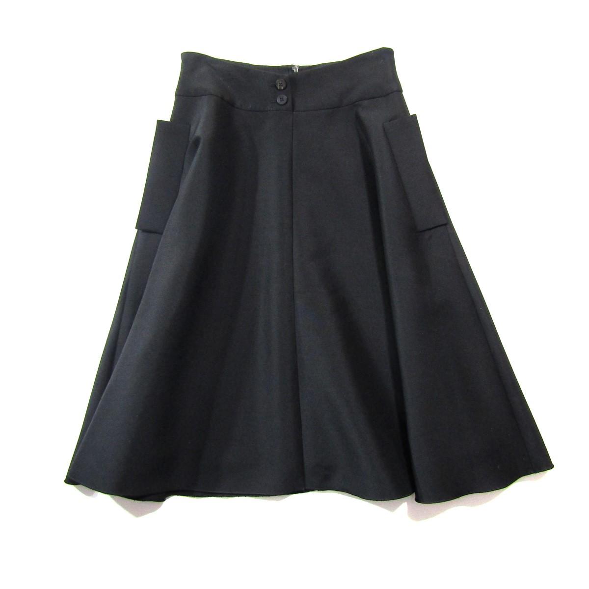 【中古】FOXEY NEW YORK Triangle/シルク混ポケットデザインスカート ブラック サイズ:38 【210420】(フォクシーニューヨーク)