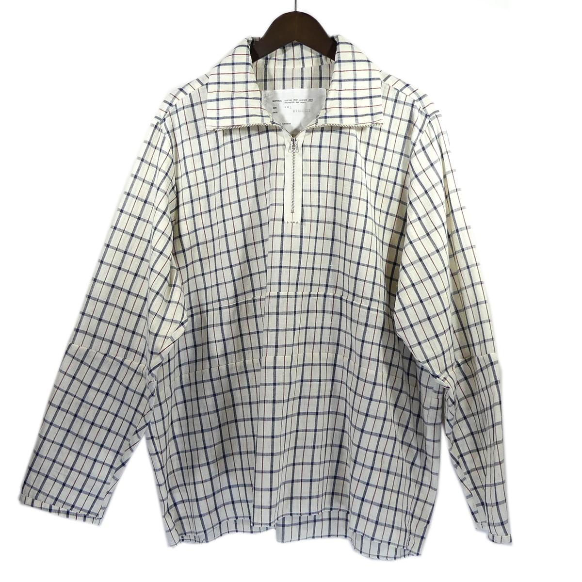 【中古】CAMIEL FORTGENS 19SS POLO TRACK SHIRTS ハーフジップチェックシャツ オフホワイト サイズ:L 【210420】(カミエルフォートヘンス)