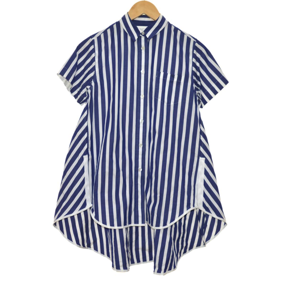 【中古】sacai 19SS 半袖ストライプシャツ ブルー×ネイビー サイズ:1 【220420】(サカイ)
