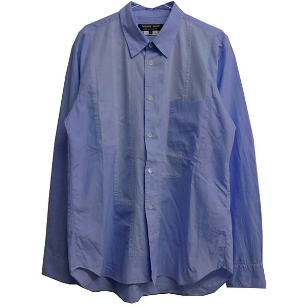【中古】COMME des GARCONS HOMME DEUX 2020SS フロントパッチワークシャツ ブルー サイズ:M 【210420】(コムデギャルソンオムドゥ)