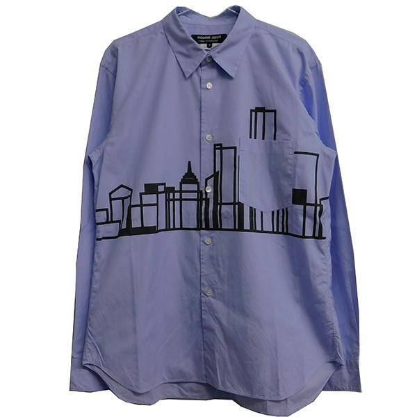 【中古】COMME des GARCONS HOMME DEUX 2019SS プリントシャツ ブルー サイズ:M 【210420】(コムデギャルソンオムドゥ)