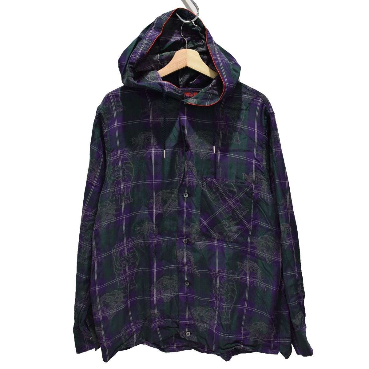 【中古】BRU NA BOINNE 19SS タイムトラベル フーデッドチェックシャツ パープル サイズ:2 【220420】(ブルーナボイン)