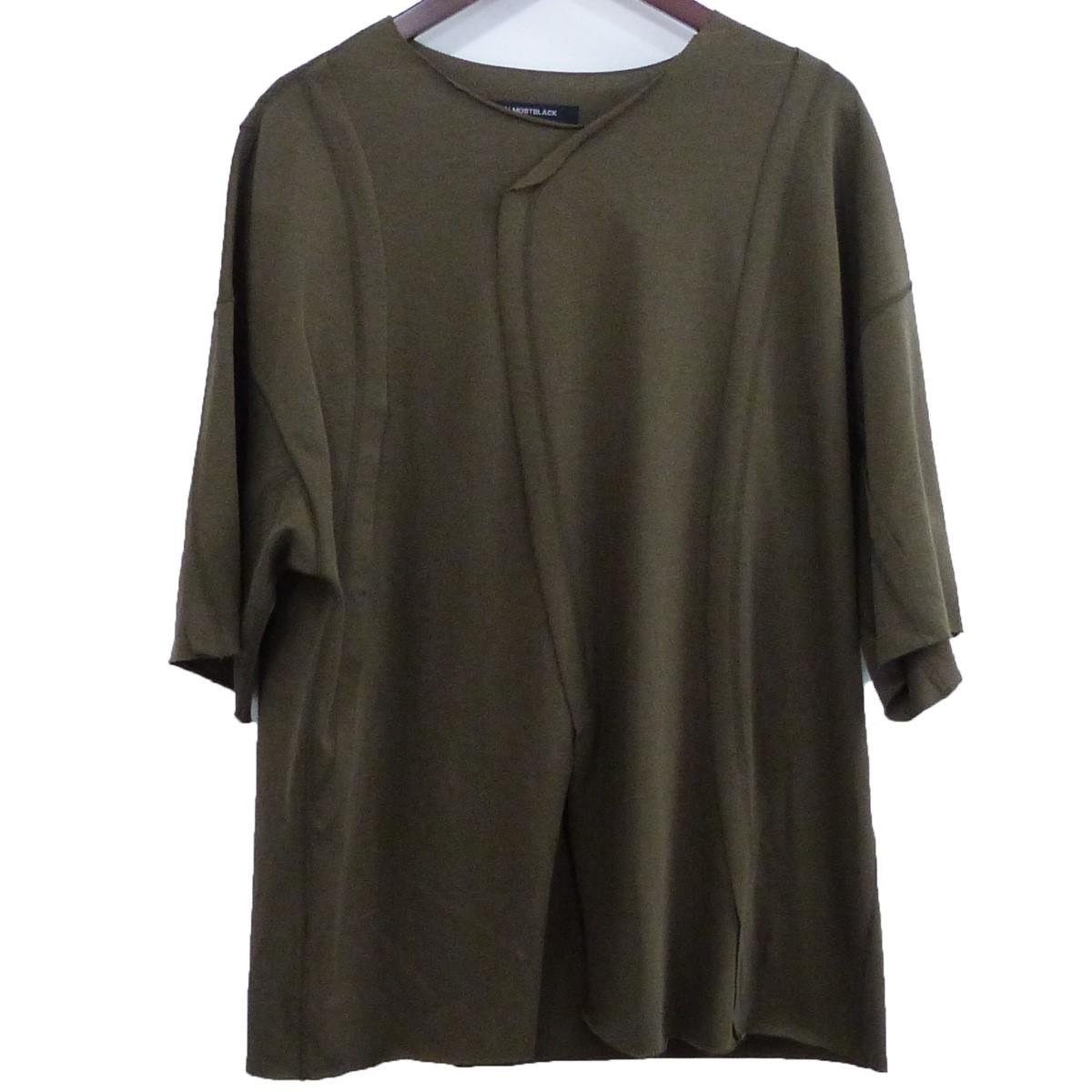 【中古】ALMOSTBLACK 20SS「switching t-shirt」スウィッチングTシャツ カーキ サイズ:1 【220420】(オールモストブラック)