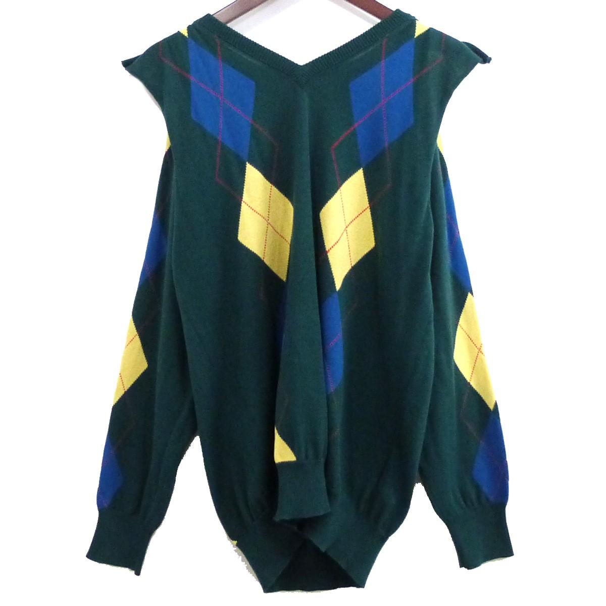【中古】TOGA ARCHIVES 19SS「Argyle Knit Pullover」アーガイルニットプルオーバー グリーン サイズ:36 【220420】(トーガアーカイブ)