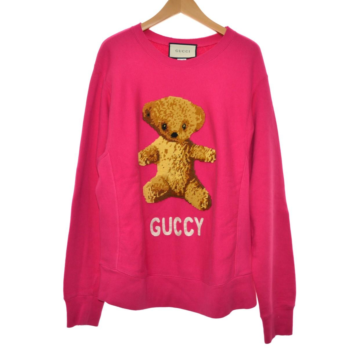 【中古】GUCCI 17SS Cotton sweatshirt with teddy bear テディベアスウェット ピンク サイズ:S 【220420】(グッチ)