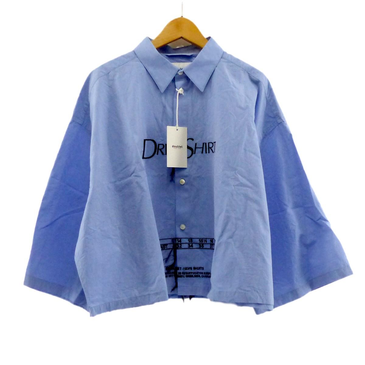 【中古】Doublet 2018SS EMBROIDERY DRESS SHIRT クロップドシャツ ブルー サイズ:M 【220420】(ダブレット)