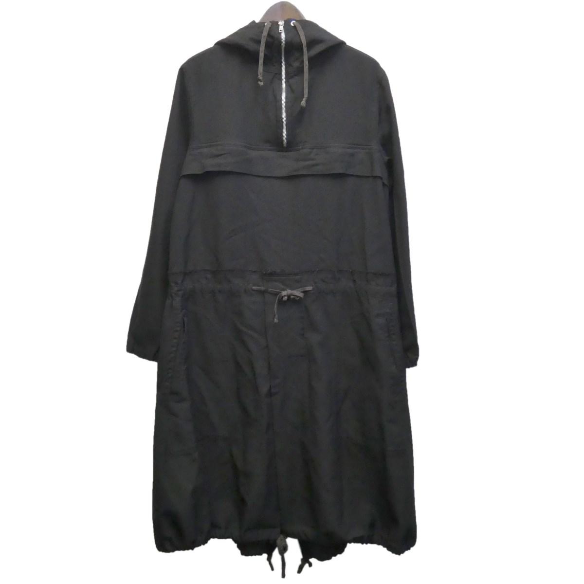 【中古】BLACK COMME des GARCONS 13AW バック刺繍ポリ縮絨ドッキングコート ブラック サイズ:XS 【220420】(ブラック コムデギャルソン)