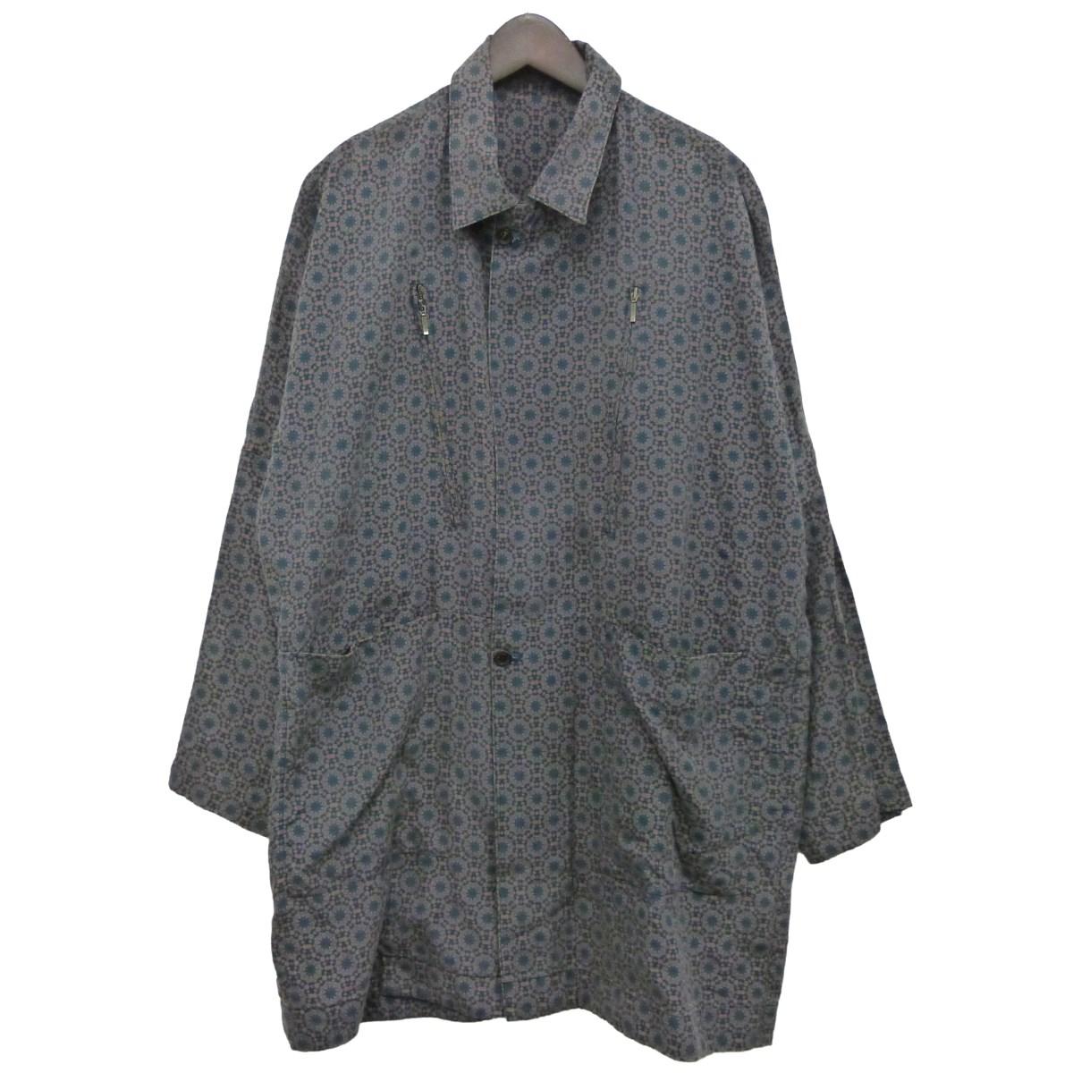 【中古】YANTOR 「Geometric Long Jacket」幾何学柄ロングジャケット ネイビー×オレンジ サイズ:S 【220420】(ヤントール)