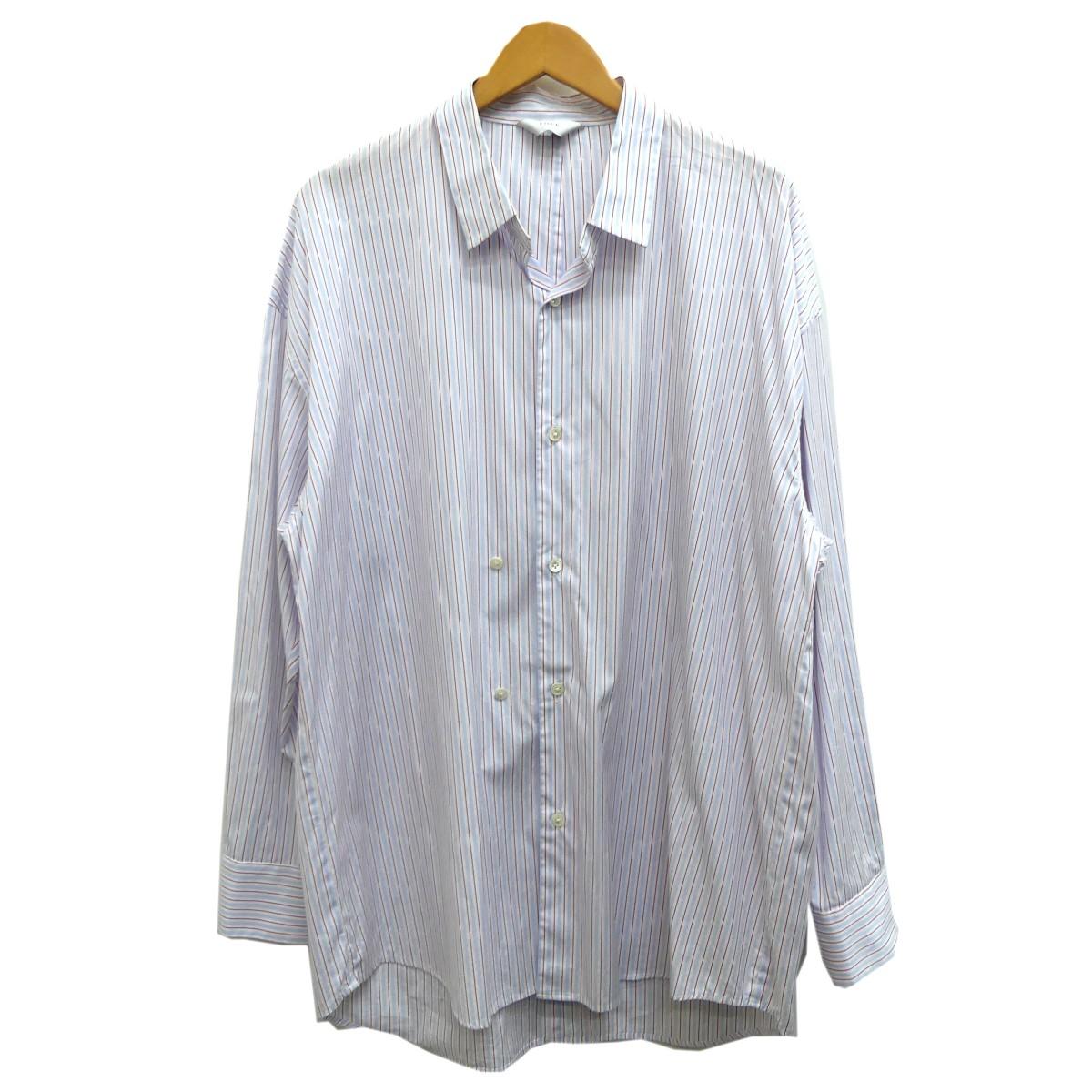 【中古】THEE double-buttoned shirts ストライプ柄シャツ レッド×ブルー サイズ:2 【230420】(シー)