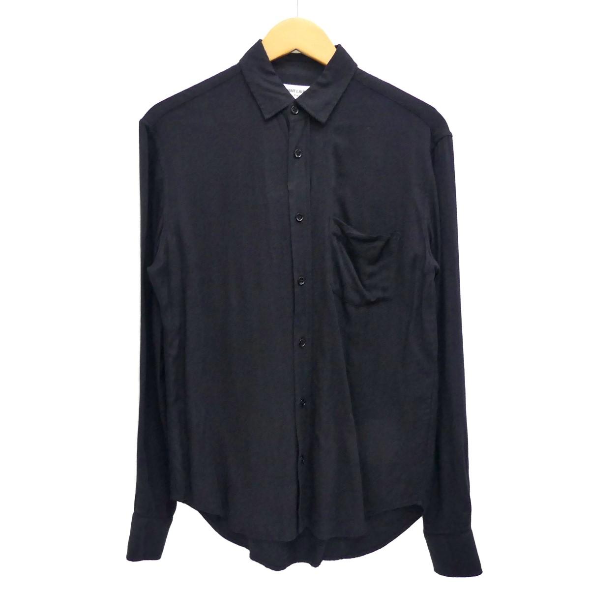【中古】SAINT LAURENT PARIS 胸ポケットコットンシャツ ブラック サイズ:14 1/2-37 【230420】(サンローランパリ)
