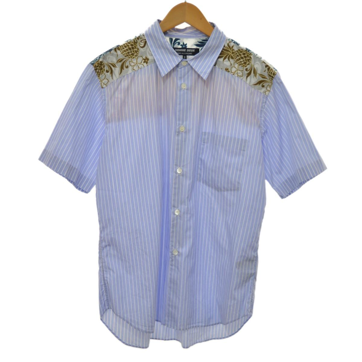 【中古】COMME des GARCONS HOMME DEUX 18SS ストライプハーフシャツ ブルー サイズ:M 【230420】(コムデギャルソンオムドゥ)