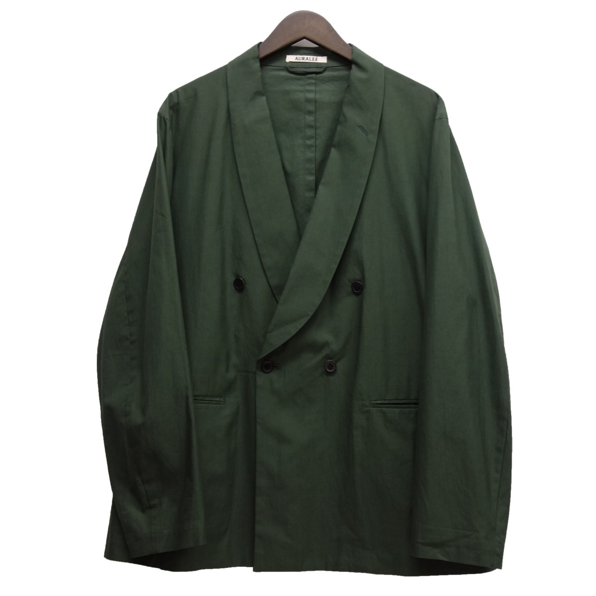 【中古】AURALEE 18SS「SHAWL COLLAR JACKET」ショールカラージャケット グリーン サイズ:4 【230420】(オーラリー)