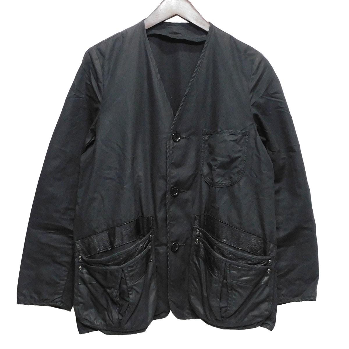 【中古】south2west8 オイルドノーカラージャケット ブラック サイズ:S 【230420】(サウストゥーウエストエイト)