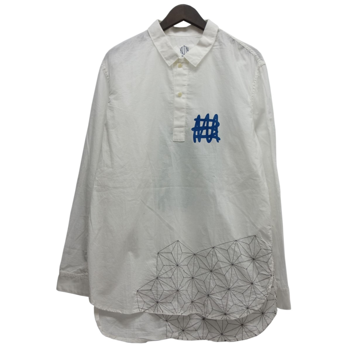 【中古】KUON 刺し子プルオーバーシャツ ホワイト サイズ:M 【230420】(クオン)