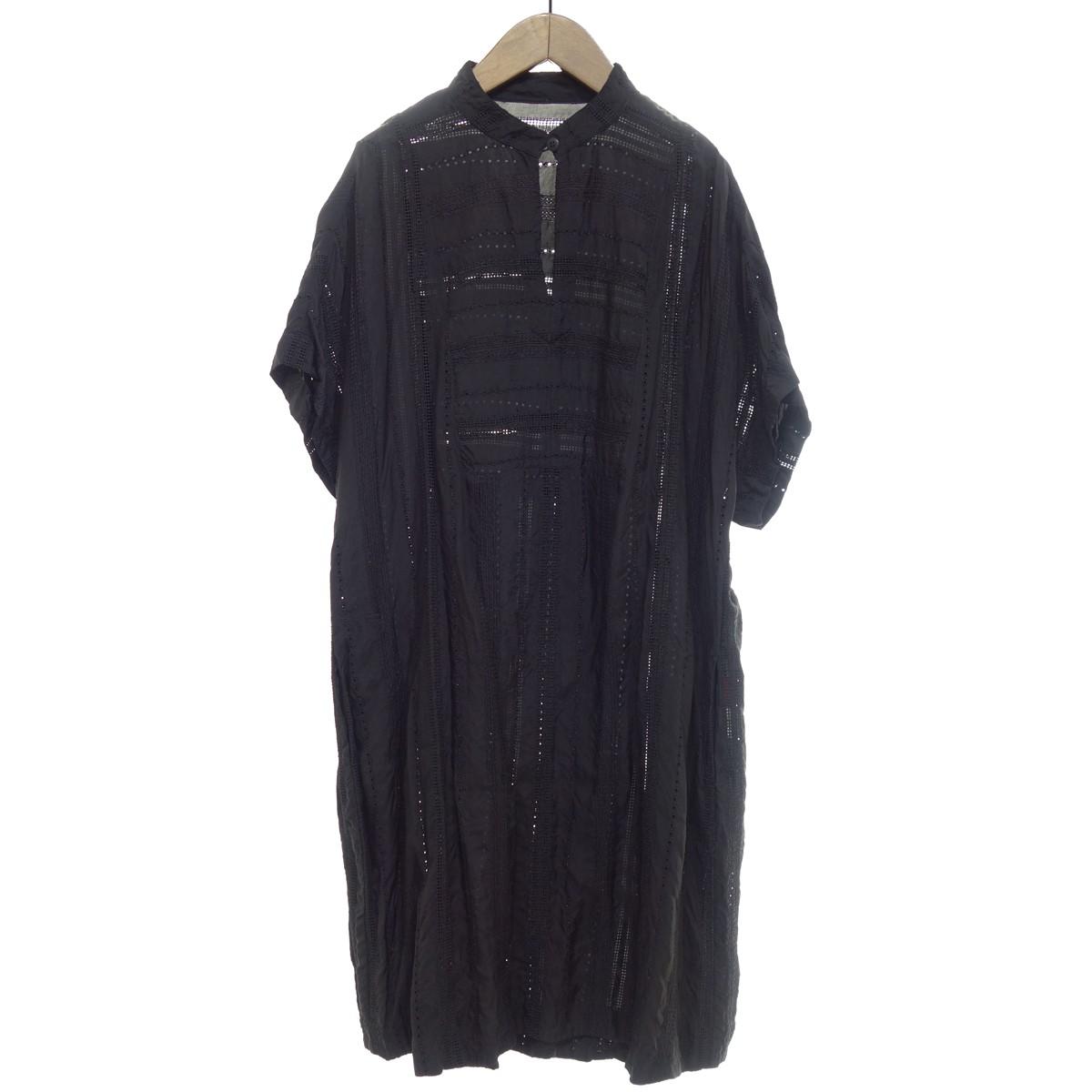 【中古】HaaT 【2017S/S】 刺繍デザイン半袖ワンピース ブラック サイズ:2 【240420】(ハート)