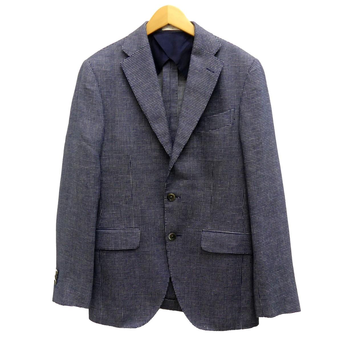 【中古】BOGLIOLI 総柄テーラードジャケット ネイビー サイズ:46 【250420】(ボリオリ)