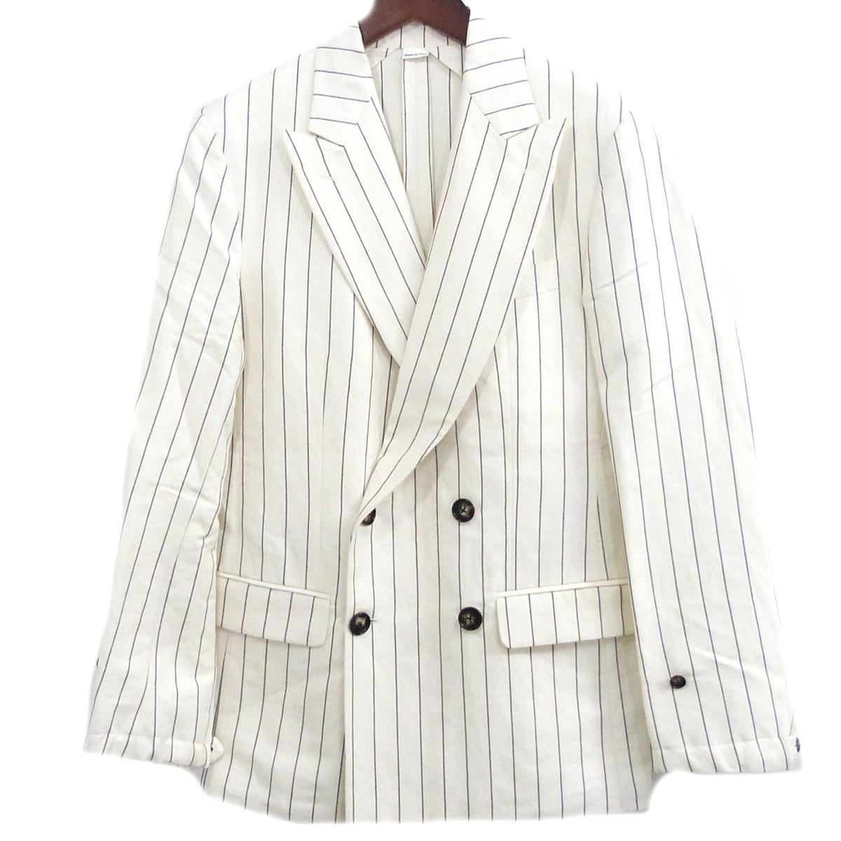 【中古】UMIT BENAN ストライプダブルプレストジャケット ホワイト×ブラック サイズ:44 【250420】(ウミット ベナン)