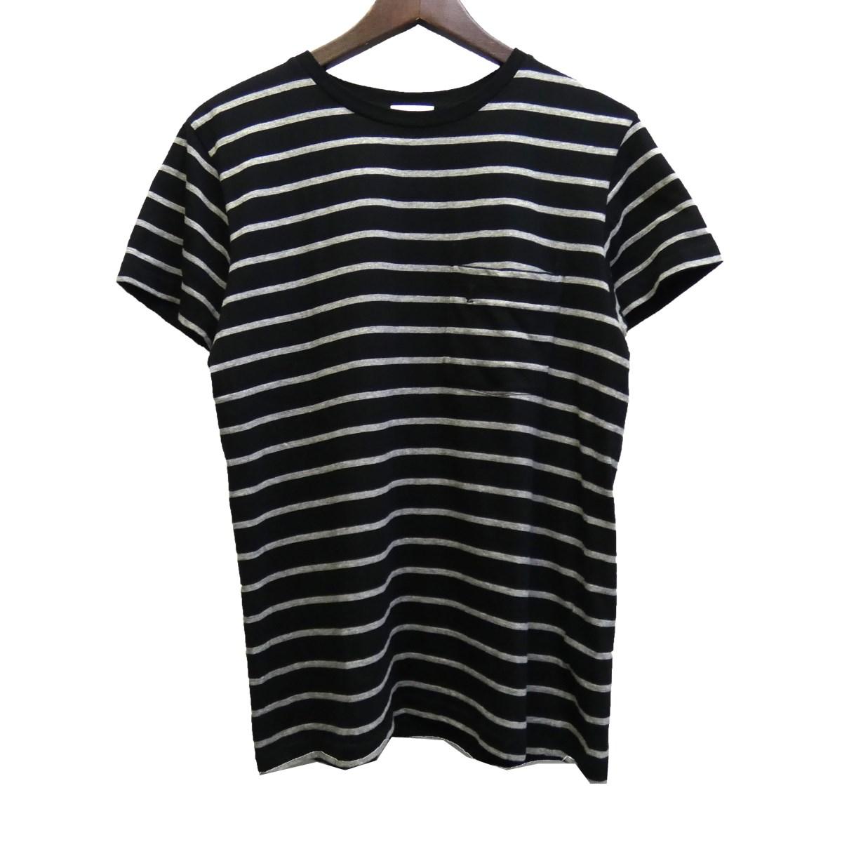 【中古】SAINT LAURENT PARIS 17SS 胸ポケットロゴTシャツ ブラック×ホワイト サイズ:S 【240420】(サンローランパリ)